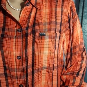 Hurley Plaid Long Sleeve Button Up Shirt